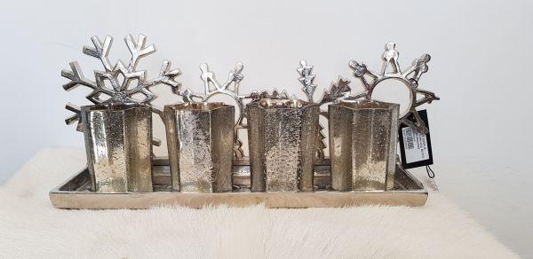 Snowflake 4er Teelichthalter silber 48 cm Breite Aluminium vernickelt