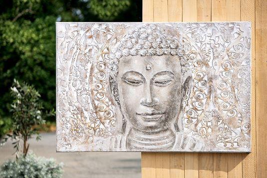 Gemälde 'Thaibuddha-Büste' creme, grau, braun handgemalt auf Leinen 150 x 100 cm