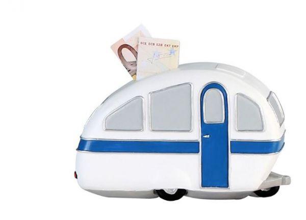 """Spardose """"Wohnwagen"""" weiß-blau-silber, Poly, Kunststoffschloss mit Schlüssel"""