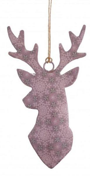 "Metallhänger ""Rentier"" rosa, 15 x 8 cm"