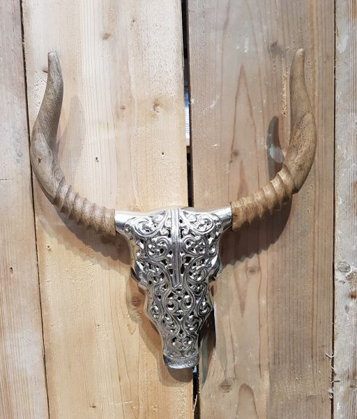 "Deko Wand-Schädel ""Stierkopf"" mit Ornament, Holz / Aluminium"