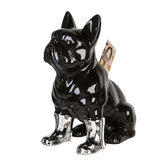 """Casablanca Spardose Hund """"Funny Bulldog"""" Porzellan schwarz glasiert, silber glänzenden Stiefel"""