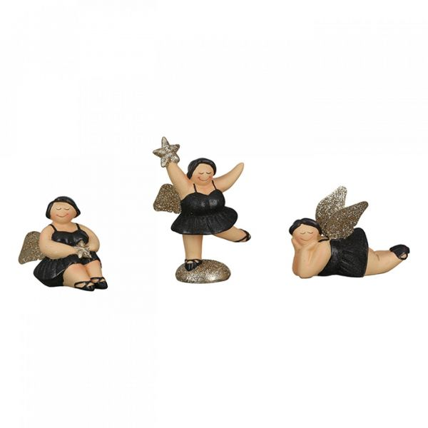 "Figur ""Engel Betty"" 3er-Set, schwarz/ gold"