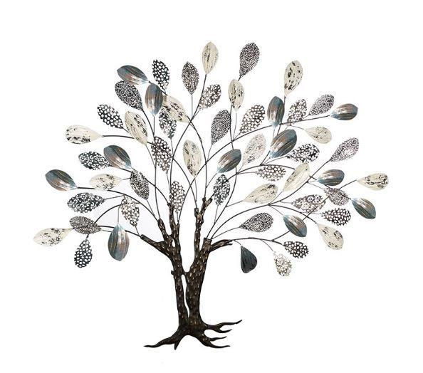 """Wanddeko Baum """"Tree"""" Metall silber/weiß/blau/schwarz mit Blatt-Objekten"""