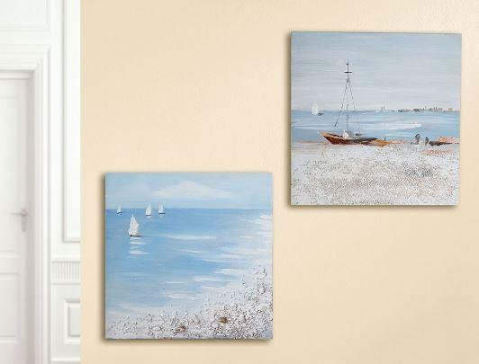 Gemälde 'Seebrise' 2-teilig 3D Optik weiss, blau, braun handgemalt auf Leinen 30 x 30 cm