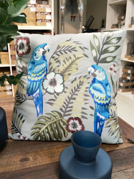 "Colmore Dekokissen ""Papagei & Blumen"" blau-grau 50 x 50 cm"
