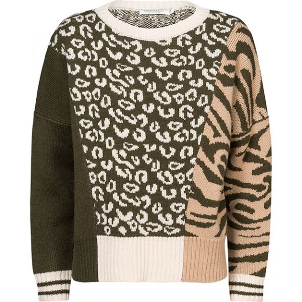 Summum Woman Patchwork Wollmix Pullover mit Aufdruck