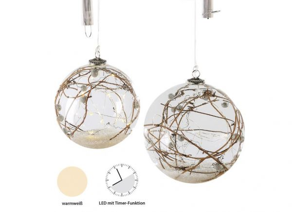"""LED Hängeleuchtkugel """"Nature"""" mit LED-Lichterkette und Timer"""