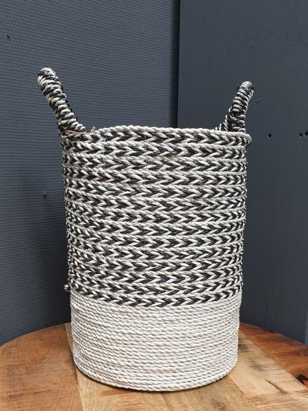 Korb handgeflochten weiß-schwarz, Fairtrade Höhe 42 cm, DM 31 cm