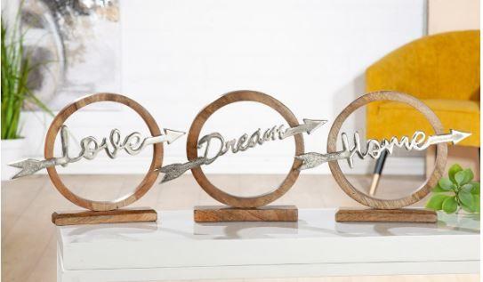 """Schriftzug Aufsteller """"Love - Dream - Home"""" Aluminium auf Mangoholz 36 cm x 26,5 cm (BxH)"""
