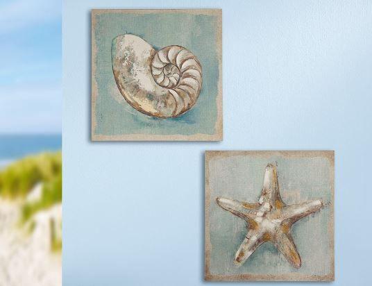 Gemälde 'Maritim' 2-teilig Muschel & Seestern creme, braun, blau handgemalt auf Leinen 40 x 40 cm