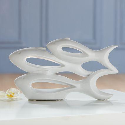 """Skulptur """"Fischschwarm"""" Porzellan weiß glänzend Breite 35 cm"""