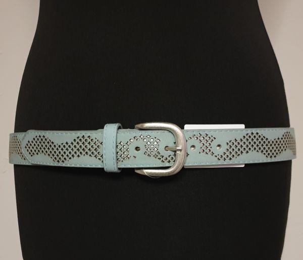 Damen - Gürtel Leder blau, 95 cm