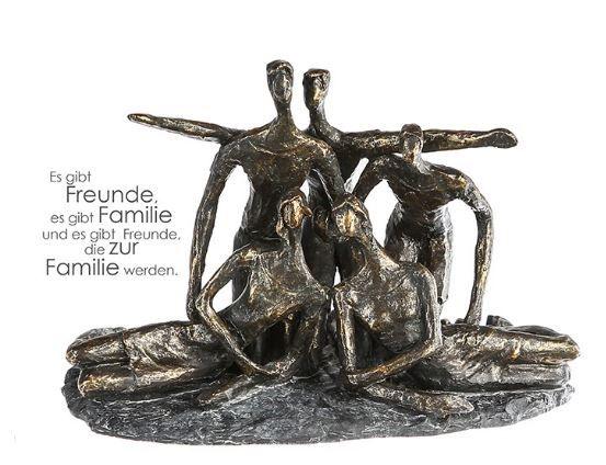 """Casablanca Skulptur """"Gruppenfoto"""" Poly Bronzefarben 5 Figuren Graue Basis mit Spruchanhänger"""