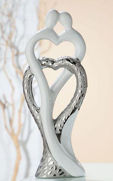 """Skulptur Paar """"Herz in Herz"""" Scolare platin weiß glasiert mit Struktur"""