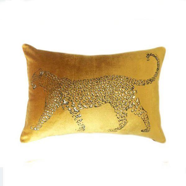 Colmore Dekokissen Leopard Ocker/Gold Veloursamt 50x35cm