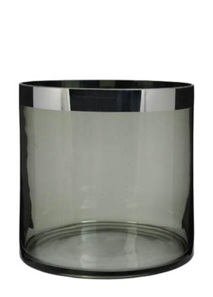 "Kaheku Glaszylinder ""TRENTON"" Platinrand grau 25 cm Ø 25 cm Höhe"