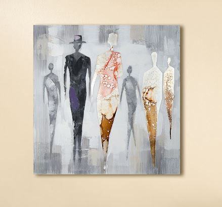 Gemälde 'People' grau, farbig handgemalt mit Aluminium Ornamenten auf Leinen 50 x 50 cm