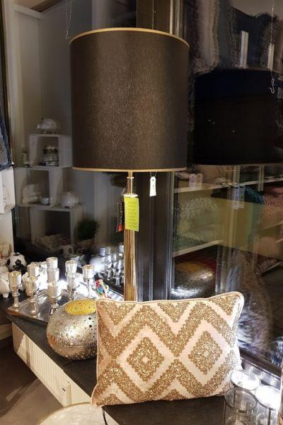 """Colmore Tischlampe """"ionische Säule"""" gold 80 cm Höhe mit Schirm schwarz"""