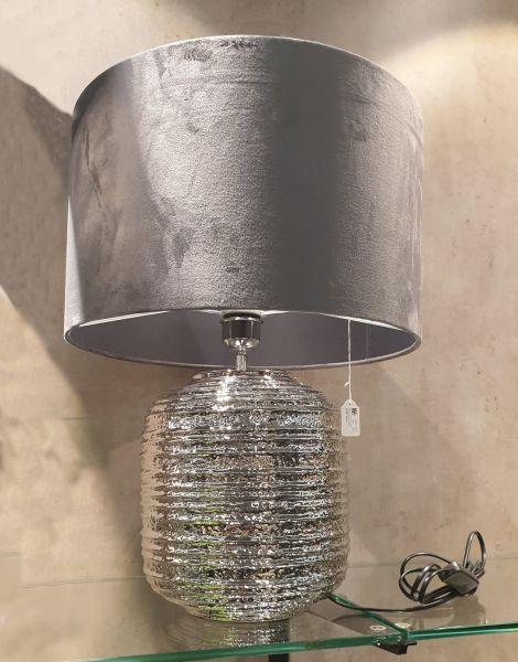 "Kahaku Lampe ""Medan"" Keramik mit Lampenschirm Samt Farbe Schiefer 54 cm Höhe 40 cm Ø"