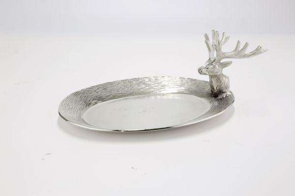 """Tablett/Schale """"Hirsch"""" Aluminium silber 21 x 31 cm (BxT)"""