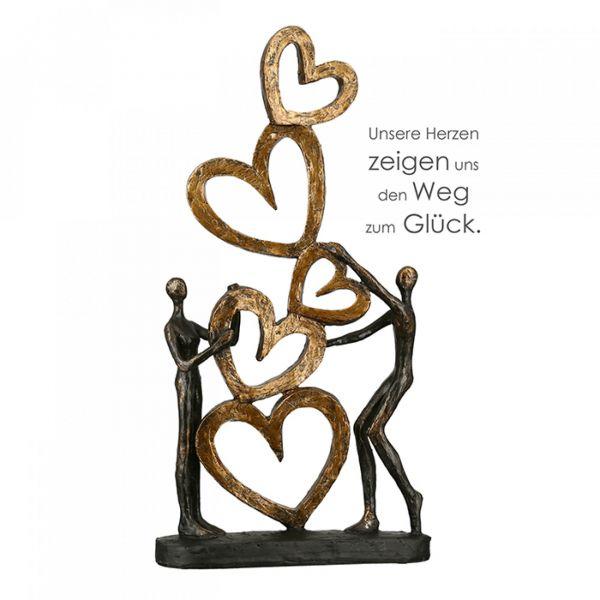 """Casablanca - Skulptur, Dekofigur """"Herz auf Herz"""" aus Poly - antikfinish"""