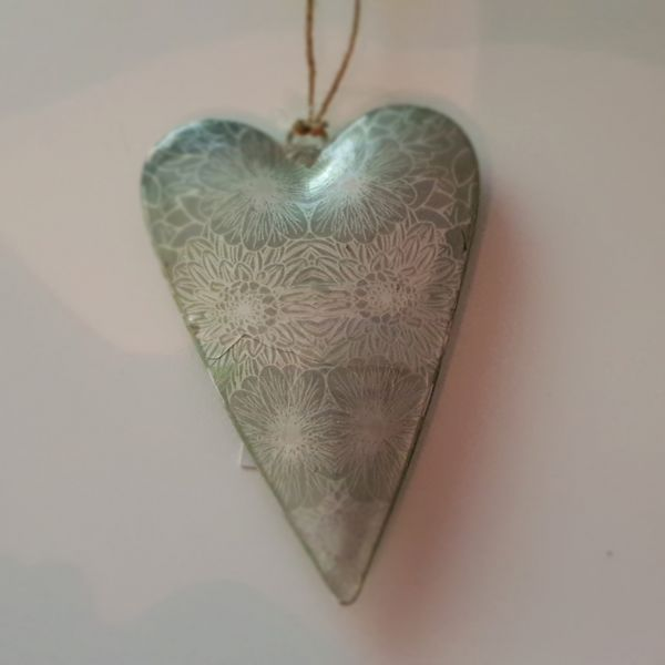 "Metallhänger ""Herz"" grün, 7 x 12 cm"