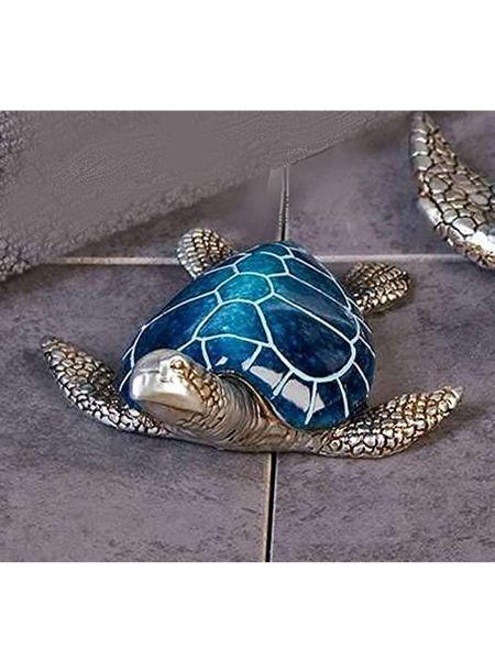 """Casablanca Schildkröte """"Josie"""" Poly blau-silber Länge 10 cm"""