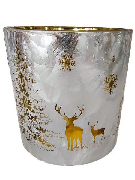 Colmore Windlichtglas L Motiv Hirsch Weiß 15x15x15 cm