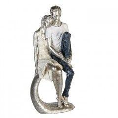 """Skulptur """"Vertrauen"""" Poly sitzendes Pärchen auf Felsen"""