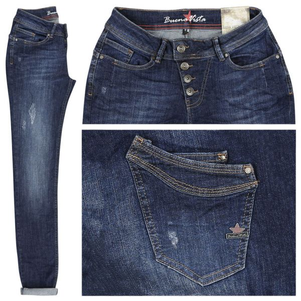 Buena Vista Jeans Malibu Stretch Denim middle blue destroyed