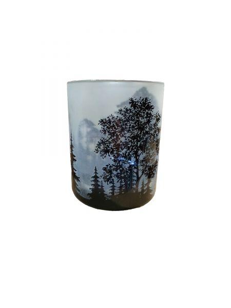 Colmore Windlichtglas S Motiv Wald Grau 7x7x8 cm