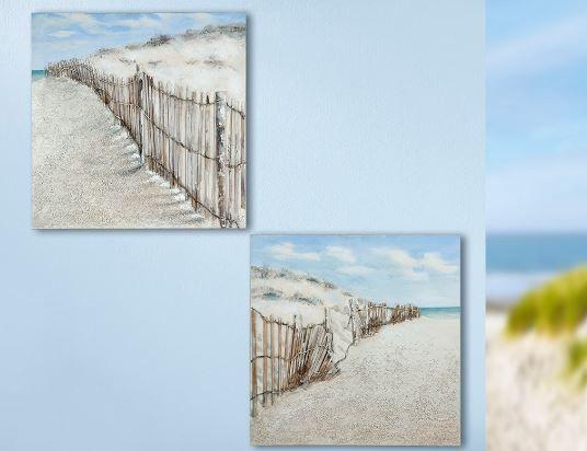 Gemälde 'Dünenzaun' 2-teilig, 3D, braun, blau, sand handgemalt auf Leinen 40 x 40 cm