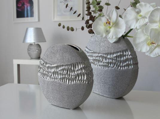 """Vase """"Splendor"""" rund silber Höhe 25 cm Breite 25,5 cm"""
