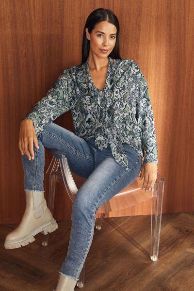 HeartKiss Damen Bluse frost mint print