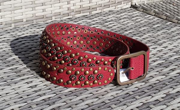 Damen - Gürtel mit Nieten echtes Leder rot 105 cm