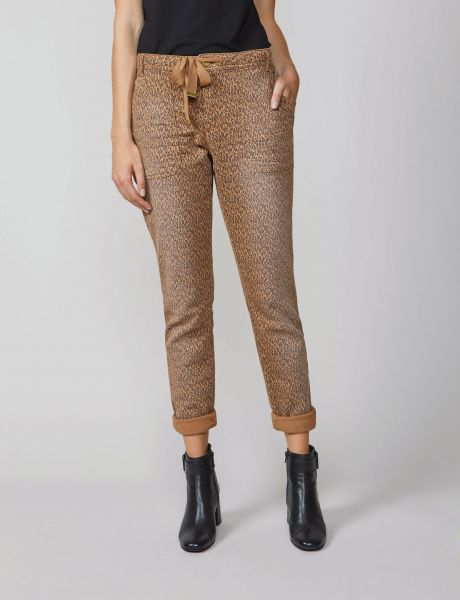 Summum Woman Hose mit Animal Print, Bund mit Kordelzug