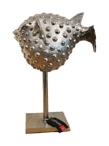 Colmore Skulptur Kugelfisch in Aluminium vernickelt 43 cm Höhe