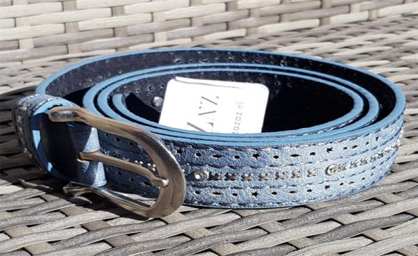 Damen - Gürtel Strass & Nieten Leder blau, 100 cm
