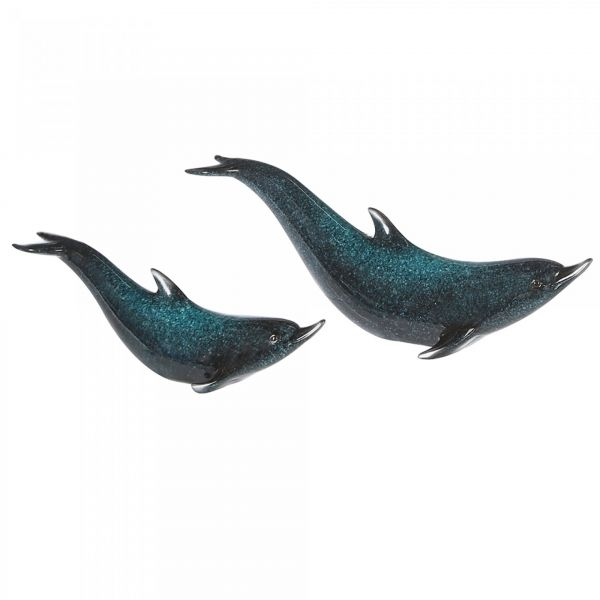 "Figur ""Delphin"" Poly blau-silber"
