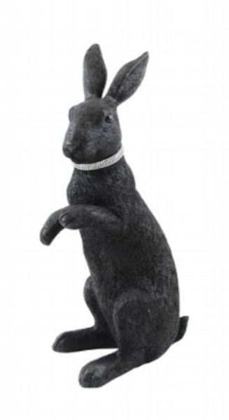 Kaheku Figur CAVONA Kaninchen sitzend schwarz mit Strasshalsband 48 cm Höhe