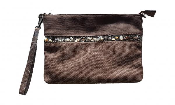 Damen - Clutch Handtasche taupe mit Reißverschluss