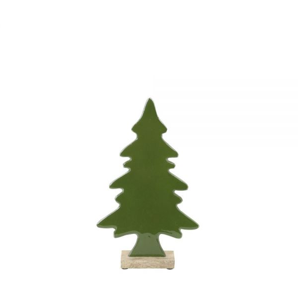 Light & Living Weihnachtliche Dekobaum Tree Ornament Green/Holz 16,5 x 26 cm