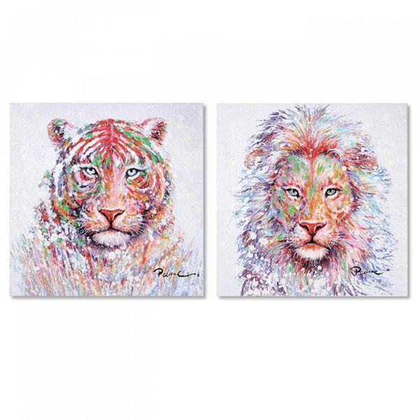 "Casablanca Ölbilder 'Wildlife"" Tiger & Löwe 2-teilig, Handgemalt 40 x 40 cm"
