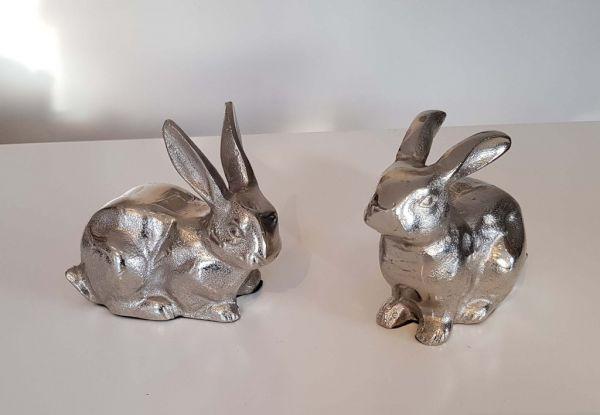Osterhasen-Paar sitzend, 2er-Set, Aluminium silber