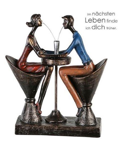 """Casablanca Skulptur """"Table for Two"""" Poly bunte/ bronzefarbend antikfinish Design mit Spruchanhänger"""