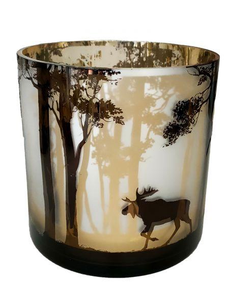 Colmore Windlichtglas XL Motiv Hirsch Schwarz Stück 20x20x20 cm