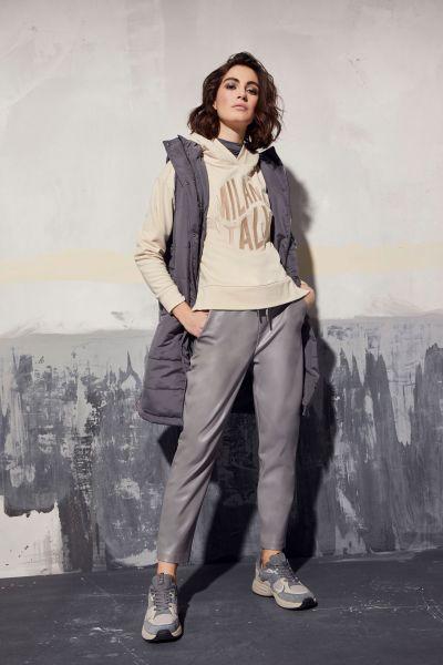 MILANO ITALY Damen Long Weste mit Kapuze, graphite