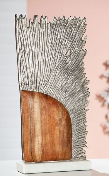 "Rechteckige Skulptur ""Sol"" aus braunem Mangoholz Aluminium und Sockel aus weißem Marmor"