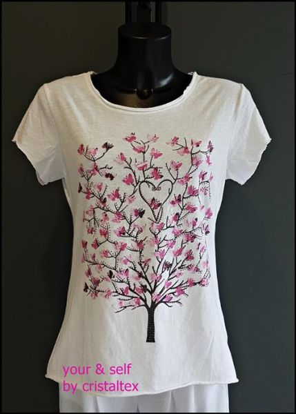 "T-Shirt ""Pink tree"" Baumwolle One Size 36-42"